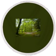 Pathway Through The Trees Round Beach Towel
