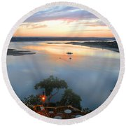 Patio With A View  Round Beach Towel