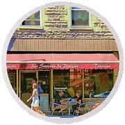 Patisserie Les Saveurs Du Plateau Pique Nique Et Emporter Montreal Cafe Scene Art By Carole Spandau  Round Beach Towel