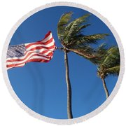 Patriot Keys Round Beach Towel by Carey Chen