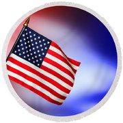 Patriotic American Flag Round Beach Towel