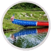 Patriotic Canoe #1 Round Beach Towel