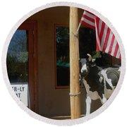 Patriotic Cow Cave Creek Arizona 2004 Round Beach Towel
