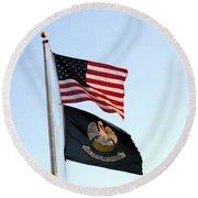 Patriotic Flags Round Beach Towel