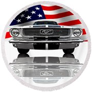 Patriotic Ford Mustang 1966 Round Beach Towel