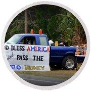 Patriotic Honey Salesman Round Beach Towel