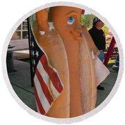 Patriotic Hotdog Round Beach Towel