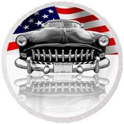 Patriotic Hudson 1952 Round Beach Towel