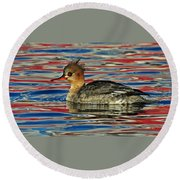 Patriotic Merganser Round Beach Towel
