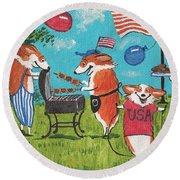Patriotic Pups Round Beach Towel