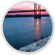 Patriotic Sunset Thru Bridge Round Beach Towel