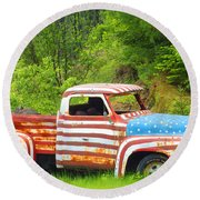 Patriotic Truck Round Beach Towel