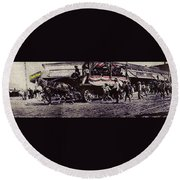 Patriotic Wagon Stone And Congress Tucson Arizona C.1900 Restored Color Texture Added 2008 Round Beach Towel