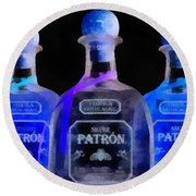 Patron Tequila Black Light Round Beach Towel