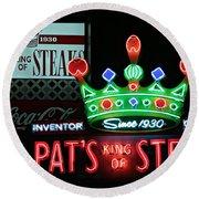 Pat's King Of Steaks Round Beach Towel