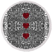 Pattern 34 - Heart Art - Black And White Exquisite Patterns By Sharon Cummings Round Beach Towel by Sharon Cummings