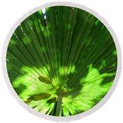 Green Plant Pattern Round Beach Towel