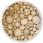 Pattern Of The Wood Pieces Round Beach Towel