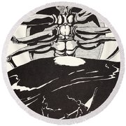 Pau Amma The Crab Rising Out Of The Sea As Tall As The Smoke Of Three Volcanoes Round Beach Towel