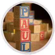 Paul - Alphabet Blocks Round Beach Towel