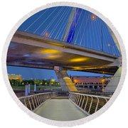 Paul Revere Park And The Zakim Bridge Round Beach Towel