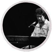 Paul At The Keyboard In Spokane 1977 Round Beach Towel