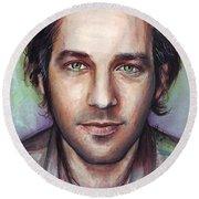 Paul Rudd Portrait Round Beach Towel by Olga Shvartsur