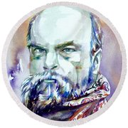 Paul Verlaine - Watercolor Portrait.1 Round Beach Towel
