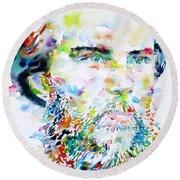Paul Verlaine - Watercolor Portrait.2 Round Beach Towel