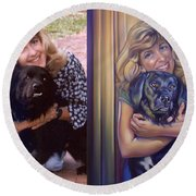 Paula Commissioned Portrait Side By Side Round Beach Towel