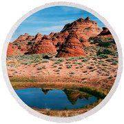 Paw Hole Reflections Round Beach Towel by Mike  Dawson