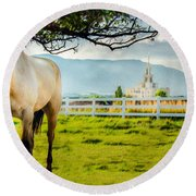 Payson Country Temple Oil Paint Texture Round Beach Towel