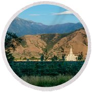 Payson Temple Mountains Round Beach Towel