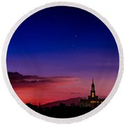 Payson Temple Starry Night Artistic Round Beach Towel