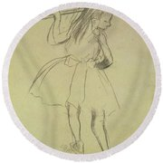 Girl Dancer At The Barre Round Beach Towel