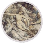 The Lamentation Over The Dead Round Beach Towel