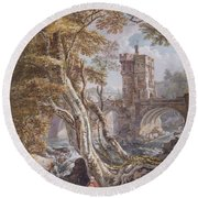 View Of The Old Welsh Bridge Round Beach Towel