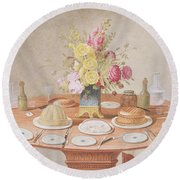 Pd.869-1973 Still Life With A Vase Round Beach Towel