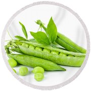 Pea Pods And Green Peas Round Beach Towel
