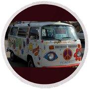 Peace And Love Van Round Beach Towel