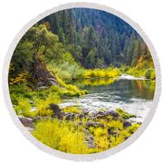 Peace And Tranquility In The Heart Of Feather River, Quincy California Round Beach Towel