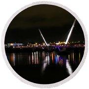 The Peace Bridge At Night Round Beach Towel