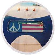 Peace Bus Round Beach Towel