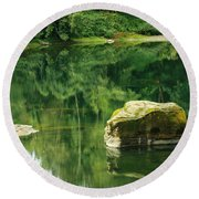 Peace By The River Round Beach Towel