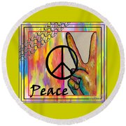 Peace In Every Color Round Beach Towel