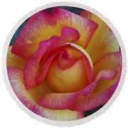 Peace In Floral Format Round Beach Towel