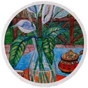 Peace Lilies On The Patio Round Beach Towel