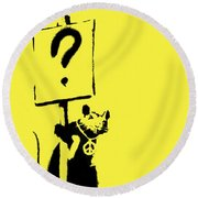 Peace / Love Protester  Round Beach Towel