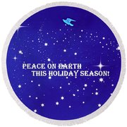 Peace On Earth Card Round Beach Towel