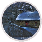Peace On Earth Holiday Card Moonlight On Stone House.  Round Beach Towel